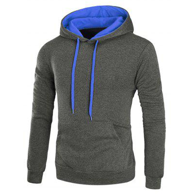 Buy DEEP GRAY M Hooded Drawstring Pullover Fleece Hoodie for $23.43 in GearBest store