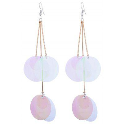 Gradient Color Round Piece Drop Earrings