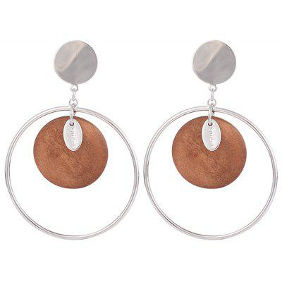 Metal Circle Round Piece Drop Earrings