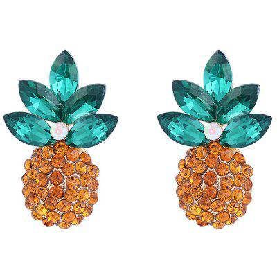 Faux Crystal Inlay Pineapple Design Stud Earrings