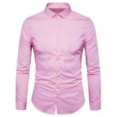 Buy LIGHT PINK L Covered Button Long Sleeve Plain Shirt for $19.38 in GearBest store