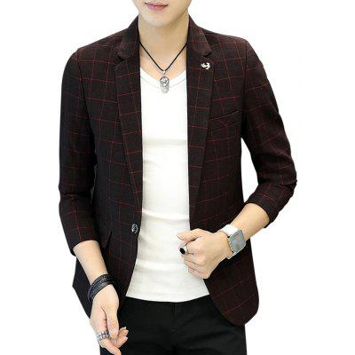 Lapel One Button Metal Detail Checked Blazer
