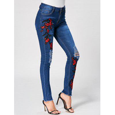 Buy DENIM BLUE L Embroidery Ladder Distressed Jeans for $28.80 in GearBest store