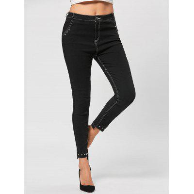 Buy BLACK L Embellished Topstitch Pencil Jeans for $26.81 in GearBest store