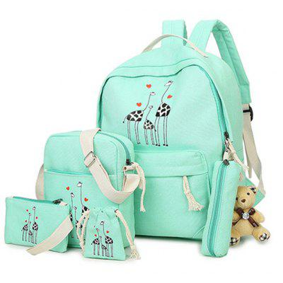 5 Pieces Canvas Animal Printed Backpack Set