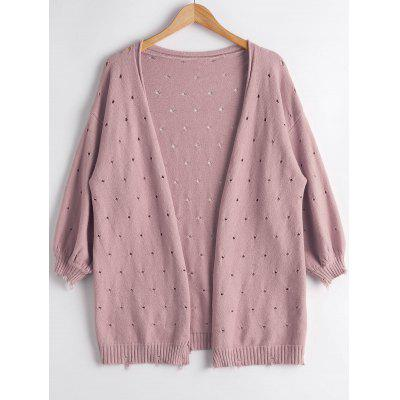 Lantern Sleeve Hollow Out Cardigan
