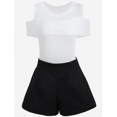 Plus Size Cold Shoulder Knitwear and Shorts