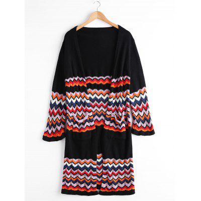 Zigzag Open Front Pockets Cardigan