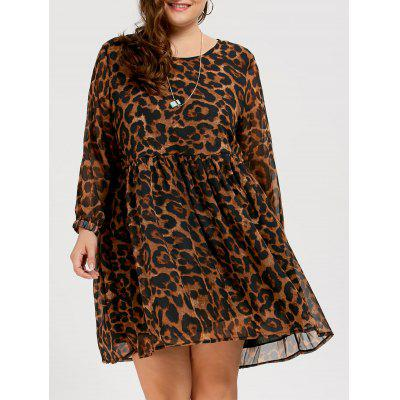 Buy BROWN 3XL Chiffon Plus Size Long Sleeve Leopard Printed Smock Dress for $23.24 in GearBest store