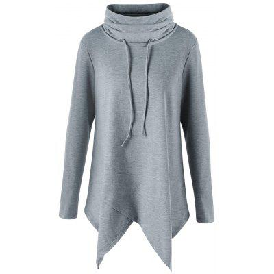Turtleneck Tunic Asymmetrical Sweatshirt