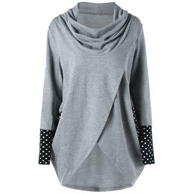 Polka Dot High Low Tunic Sweatshirt