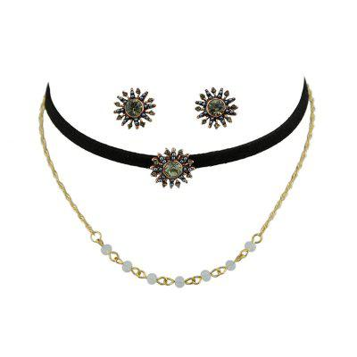 Beaded Sunflower Choker Necklace with Earrings