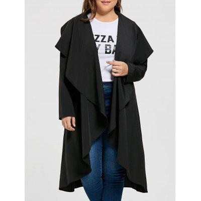 Plus Size Open Maxi Drape Coat