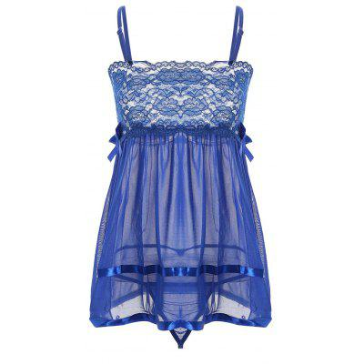 Lace Side Slit Sheer Slip Babydoll