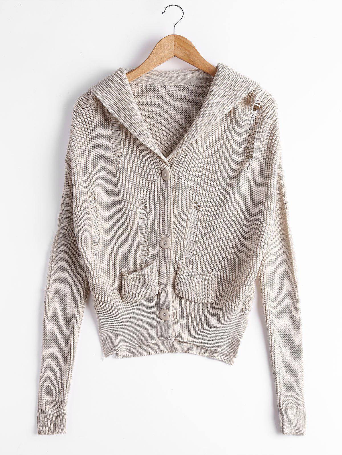 Button Up Ripped Cardigan with Pockets