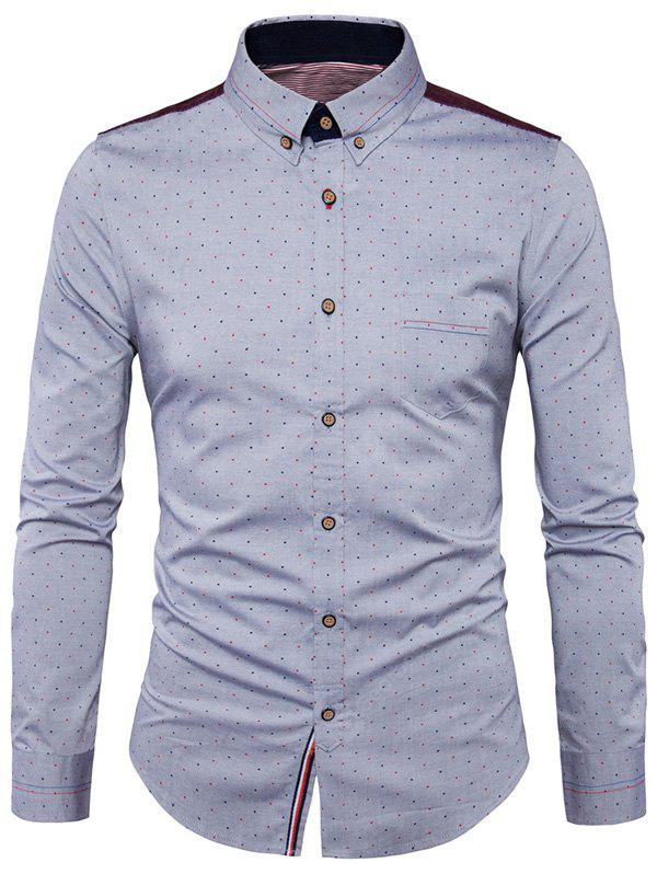 Button Down Corduroy Insert Polka Dot Shirt