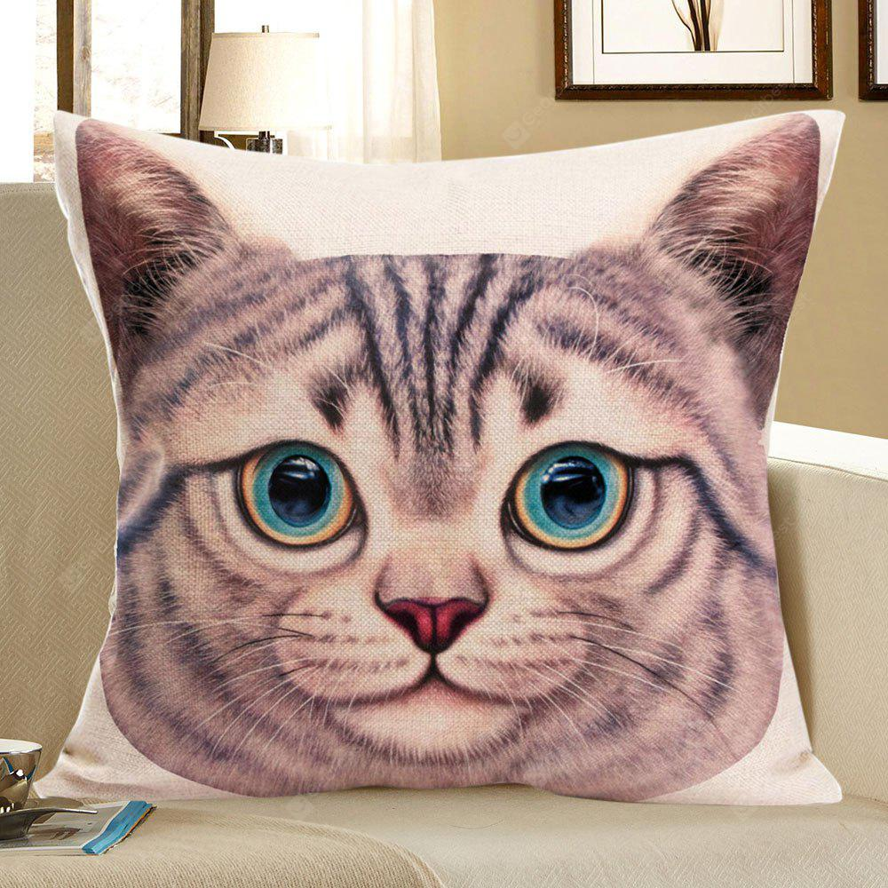 Cat Head Printed Decorative Pillow Case