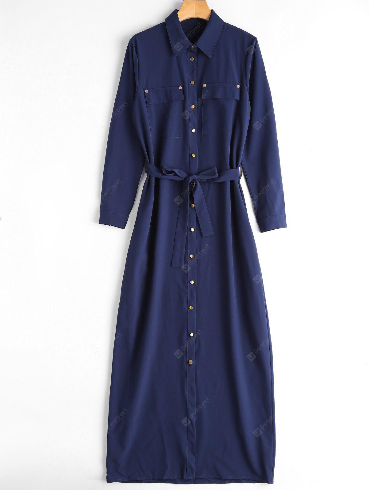 Single Breasted Belted Maxi Shirt Dress