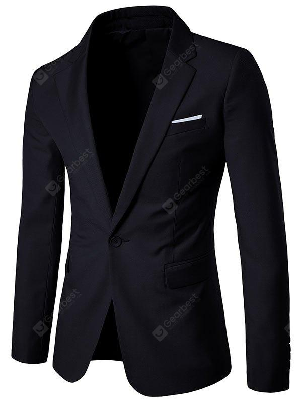One Button Chest Pocket Lapel Blazer
