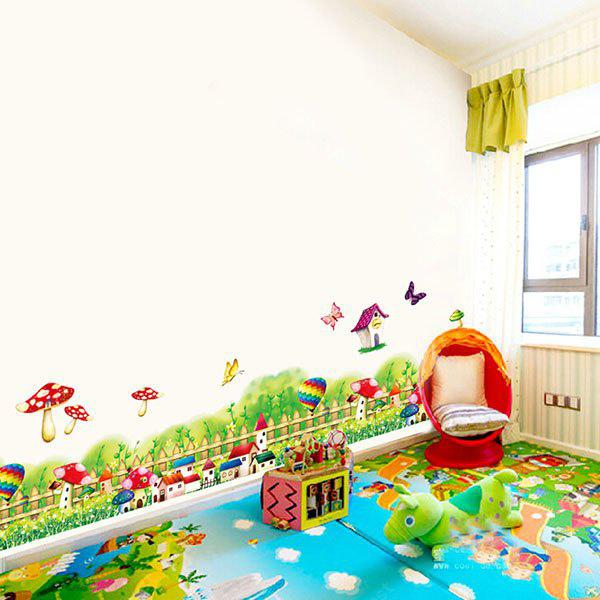 Mushrooms Balloon Fence Decorated Wall Sticker