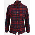 Plus Size Tartan Shirt - BLUE AND RED