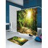 Buy Sunshine Forest Printed Waterproof Shower Curtain Rug GREEN