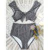 Checked High Waisted Tie Front Bikini - WHITE AND BLACK