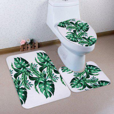 Buy GREEN Tropical Leaf Pattern 3 Pcs Toilet Mat Bath Mat for $17.85 in GearBest store