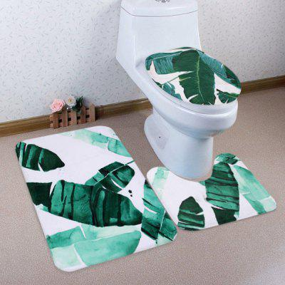 Buy COLORMIX 3 Pieces Watercolor Leaf Non-slip Bathroom Mats Set for $17.85 in GearBest store