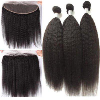 3Pcs / Lot 5A Remy Indian Long Free Part Kinky Straight Human Hair Weaves