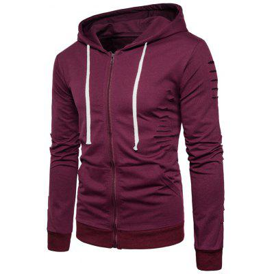 Buy WINE RED L Hooded Distressed Zip Up Hoodie for $25.42 in GearBest store
