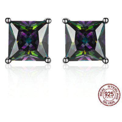 Rhinestone Geometric Sterling Silver Stud Earrings