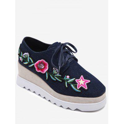 Denim Embroidered Wedge Shoes