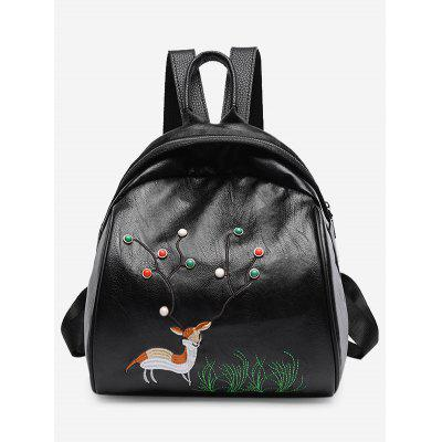 Buy BLACK Animal Pattern Embroidery Backpack for $21.15 in GearBest store