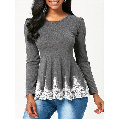 High Waisted Lace Trim Long Sleeve T-shirt