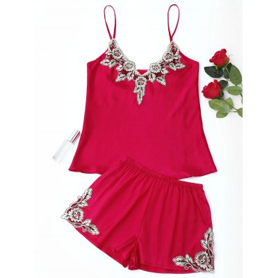 Buy RED L Satin Flower Applique Pajama Set for $21.81 in GearBest store
