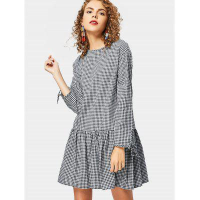 Buy CHECKED L Long Sleeve Back Button Embellished Checked Dre for $23.57 in GearBest store
