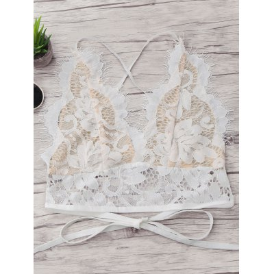 Buy WHITE M Scalloped Crisscross Lace Bralette for $14.06 in GearBest store