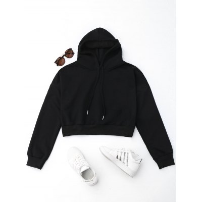 Cropped Drop Shoulder HoodieSweatshirts &amp; Hoodies<br>Cropped Drop Shoulder Hoodie<br><br>Collar: Hooded<br>Material: Polyester<br>Package Contents: 1 x Hoodie<br>Pattern Type: Solid<br>Shirt Length: Crop Top<br>Sleeve Length: Long Sleeves<br>Weight: 0.4700kg