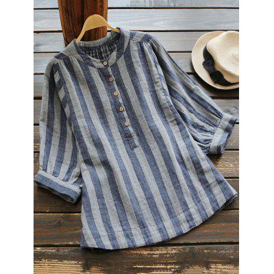 Oversized Three Quarter Sleeve Striped Blouse