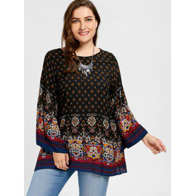 Plus Size Bell Sleeve Tribe Print BlousePlus Size Tops<br>Plus Size Bell Sleeve Tribe Print Blouse<br><br>Collar: Scoop Neck<br>Material: Polyester<br>Package Contents: 1 x Blouse<br>Pattern Type: Print<br>Season: Spring, Fall<br>Shirt Length: Long<br>Sleeve Length: Full<br>Style: Fashion<br>Weight: 0.2050kg
