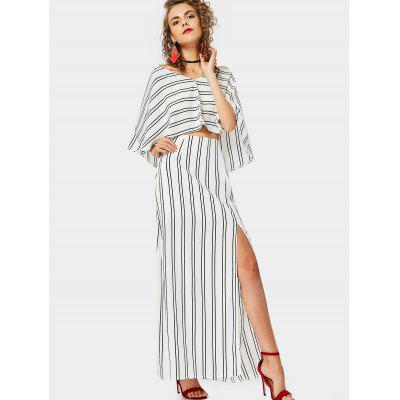 Capelet Top with Slit Striped Skirt Set