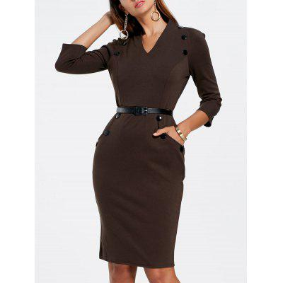 V Neck Button Tight Pencil Dress