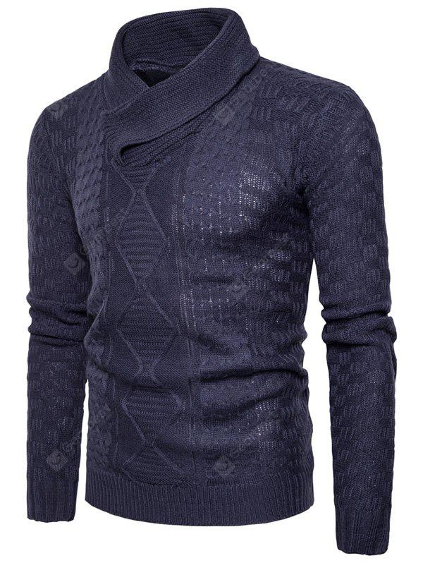 Shawl Collar Ribbed Pullover Sweater