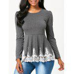 High Waisted Lace Trim Long Sleeve T-shirt - GRAY