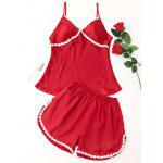 Satin Laced Pajama Set - RED
