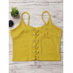 Lace-up Ribbed Cami Top - YELLOW