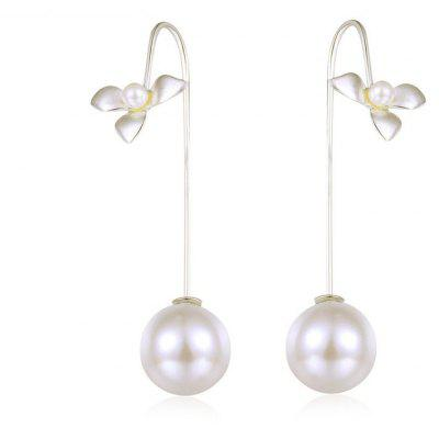 Statement Faux Pearl Flower Drop Earrings