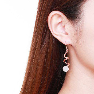 Rhinestone Zigzag Bead Hook Earrings