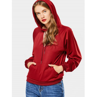 Buy WINE RED Choker Cut Out Loose Hoodie for $24.21 in GearBest store